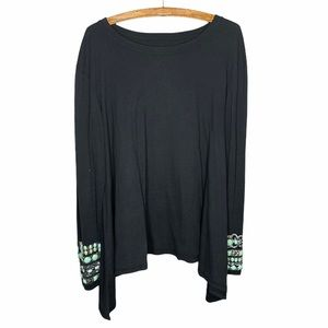 Double D Ranch Black Long Sleeve Embellished Top M